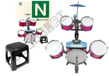 Drums Set with Keyboard Microphone Chair 4 Drums