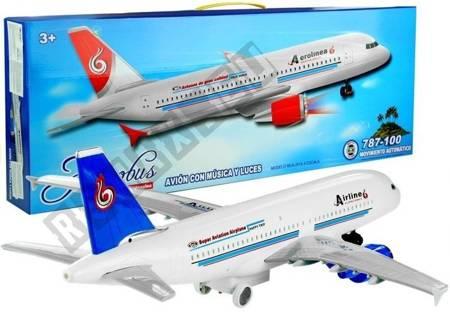 Duży Samolot Pasażerski 69 cm Świeci Gra Biały