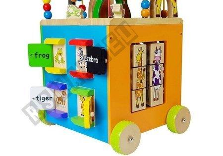Large Wooden Educational Cube on wheels SAFARI