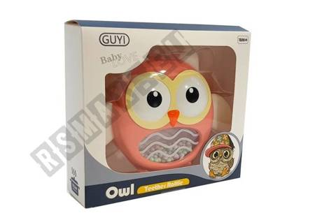 Owl Rattle Teether Children's Toy Red