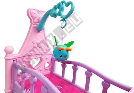 Pink Cradle for Dolls with a Rattle Rocking Cot