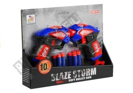 2 Pistolen 10 Schaumstoffpatronen Set Spielzeug für Kinder ab 5 Jahren
