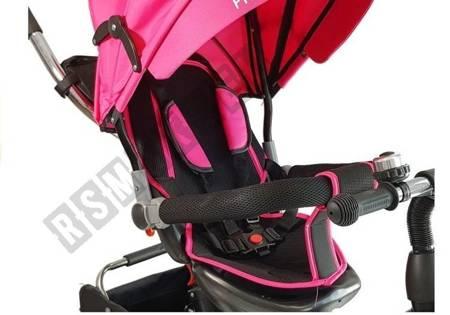Dreirad PRO500 Rosa Sonnendach Gummiräder Schiebestange Dreirad für Kinder