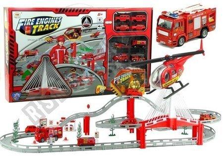 Feuerwehrauto + Rennbahn 380 cm + Hubschrauber