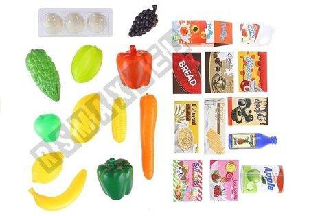 Kinder Einkaufswagen Einkaufskorb mit Zubehör künstliche Lebensmittel