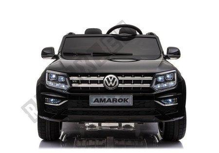 Kinderfahrzeug VW Amarok Schwarz 4x45W Ledersitz 2.4G EVA-Reifen MP3 USB Auto