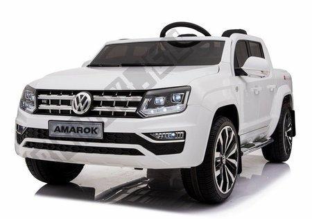 Kinderfahrzeug VW Amarok Weiß 4x45W 3 Gänge Ledersitz weiche EVA-Reifen