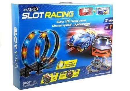 Rennbahn 2 Autos Controller Slot Cars 1:43 Dioden großes Set für Kinder