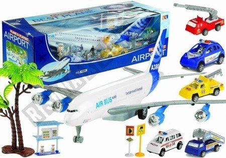 Set Flughafen Flugzeug 55 cm Fahrzeuge Figürchen Feuerwehrauto Polizeiauto Set