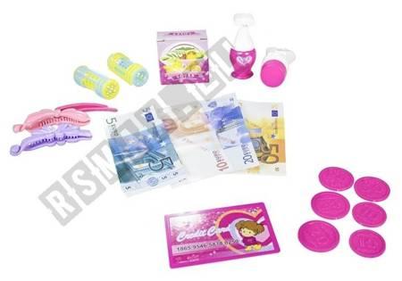 Spielkasse für kleine Friseurin Lockenwickler Haarspangen Geld Batterie