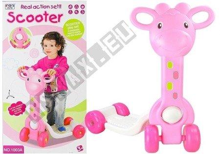 Hulajnoga dla dzieci 4 Koła Żyrafa Różowa