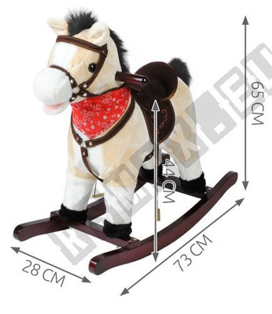 Interaktywny koń na biegunach beżowy K4592 !