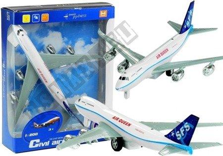 Samolot Pasażerski Jeździ Świeci Gra Biały 1:200