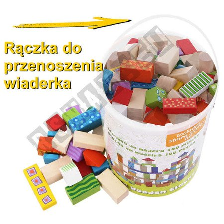 Zestaw 100 klocków drewnianych dla dzieci ECOTOYS